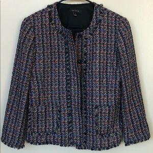 Ann Taylor fringe tweed colorful jacket - Size 4